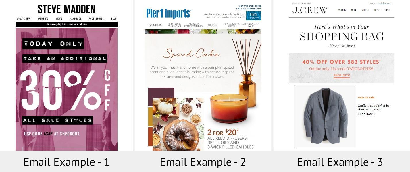 j crew steve madden pier1 imports email comparison