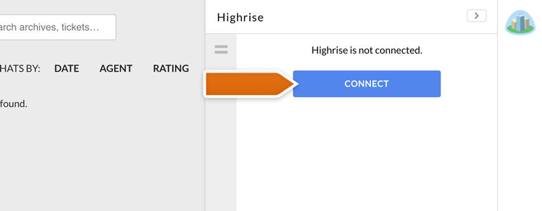 Highrise LiveChat: Click on Connect to link Highrise with LiveChat