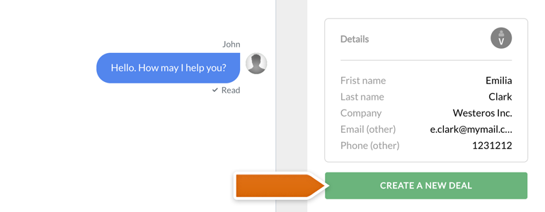 Highrise LiveChat: create New Deals for your customers