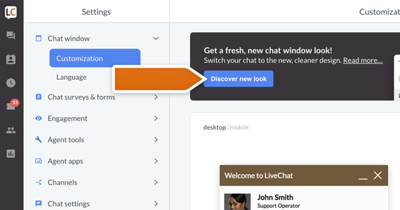 New look for your chat: how to get the new look?