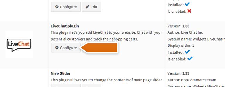 nopCommerce LiveChat: Configure your LiveChat plugin