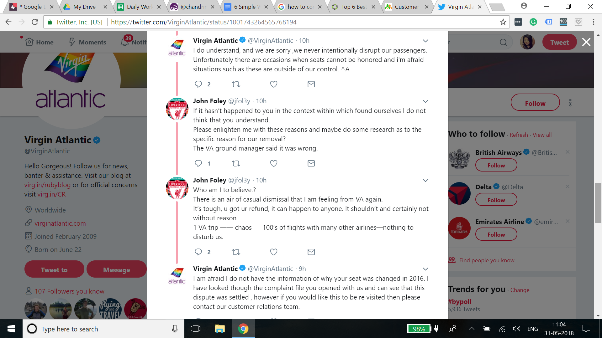 virgin atlantic twitter communication