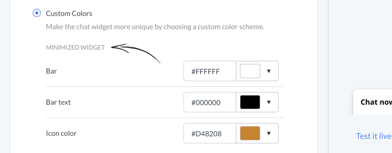 Chat widget configurator: apply Custom Colors to your chat widget!