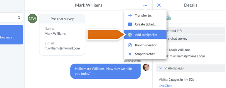 Highrise for LiveChat: add new contact to Highrise