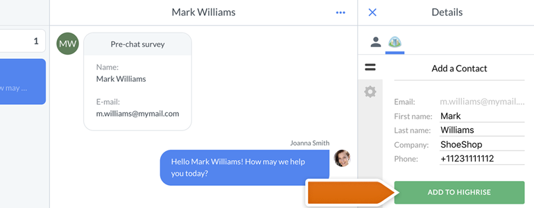 Highrise for LiveChat: managing your Contacts straight in LiveChat app!