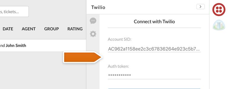 Twilio LiveChat: Provide your Twilio credentials
