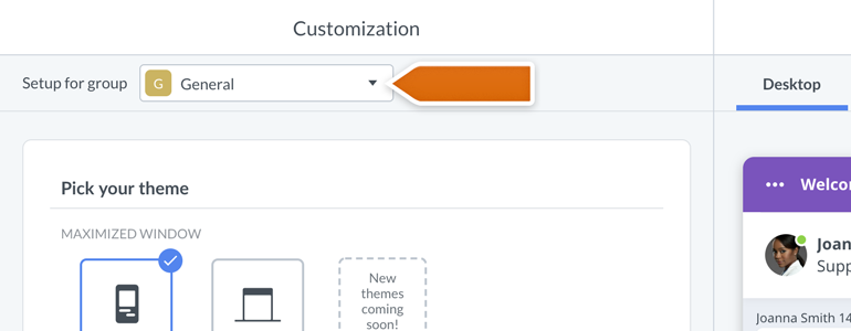 Chat widget configurator: choose the group for which you'd like to customize the chat window