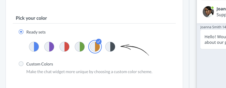 Chat widget configurator: choose which part of your widget would you like to edit