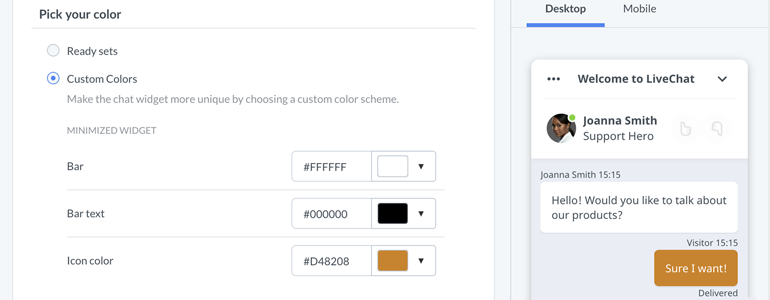 Chat widget configurator: customize your chat!
