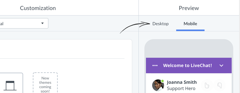 Chat widget configurator: preview changes made to your chat widget