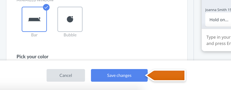 Chat widget configurator: don't forget to Save changes