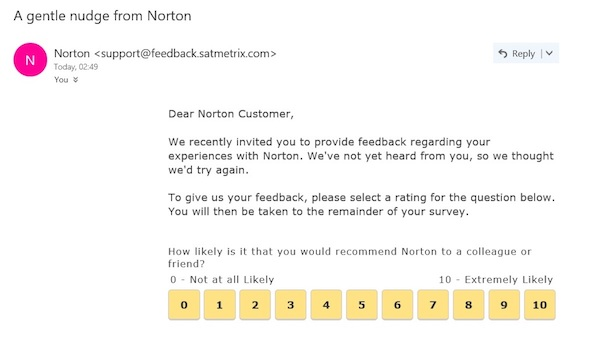 norton autoresponse email example