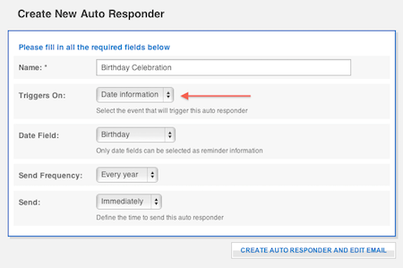 birthday autoresponder settings