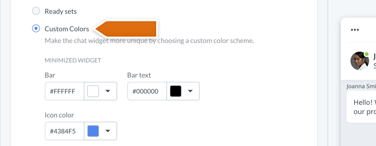 New Chat Configurator: Pick your custom color