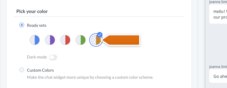 New Chat Configurator: Pick your ready color