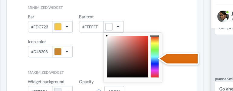 New Chat Configurator: Use a custom color palette
