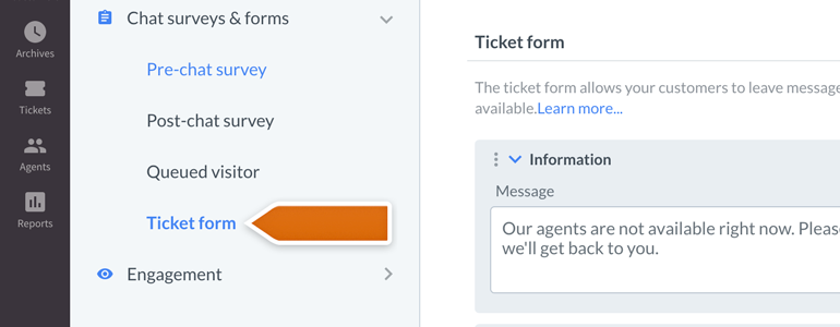 LiveChat HIPAA compliant: go to Ticket form available under Chat surveys & forms