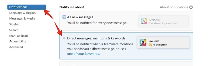 Slack direst messages and mentions