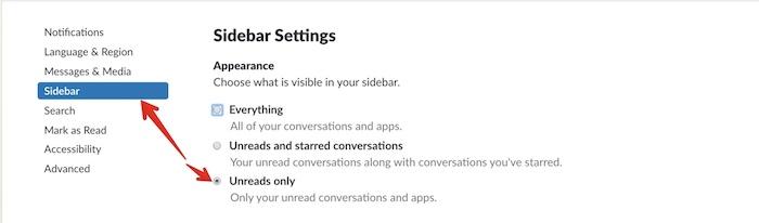 slack sidebar settings
