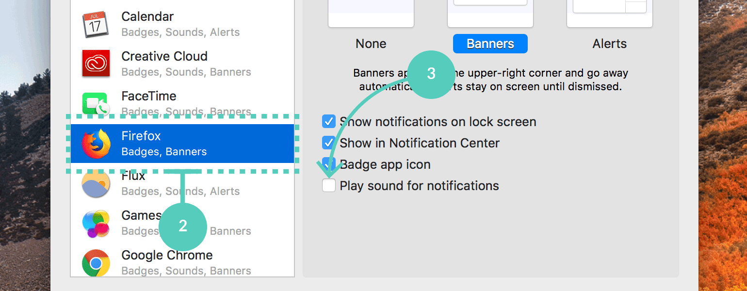 Uncheck play sound for notifications in Firefox