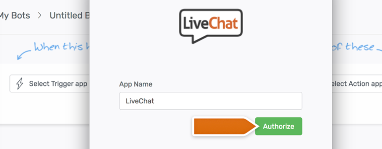 Automate.io LiveChat: name your app and click on Authorize
