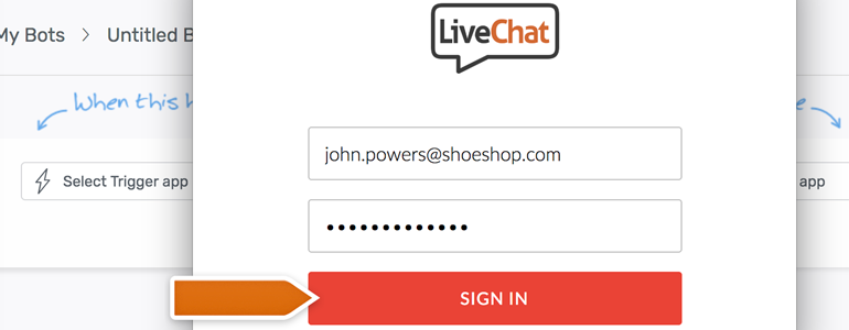 Automate.io LiveChat: provide your LiveChat credentials and Sign in