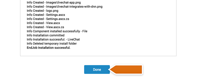 DotNetNuke Chat: click on the Done button