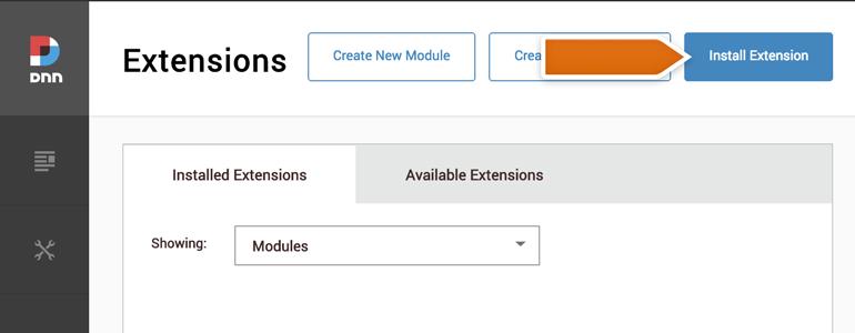 DotNetNuke Chat: click on Install Extension button