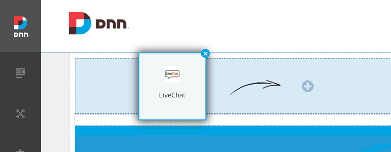 DotNetNuke Chat: drag and drop LiveChat plugin at the top of the website