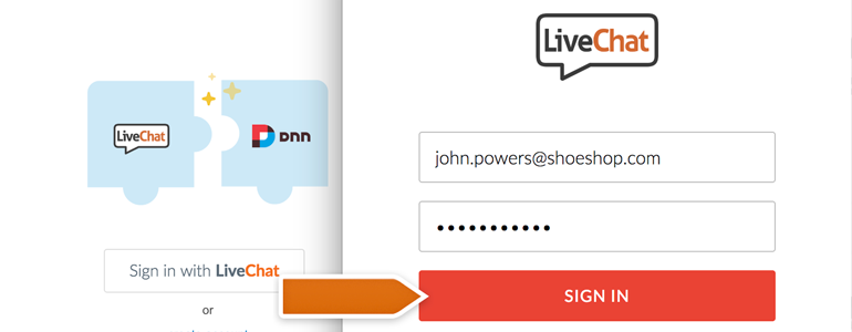 DotNetNuke Chat: provide your LiveChat credentials click on Sign in