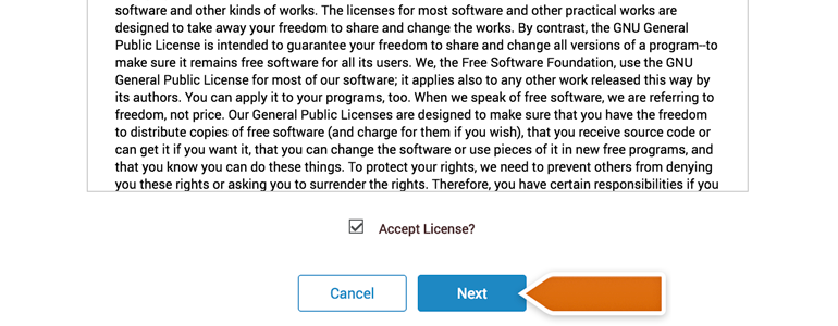 DotNetNuke Chat: accept the license and click on the Next button