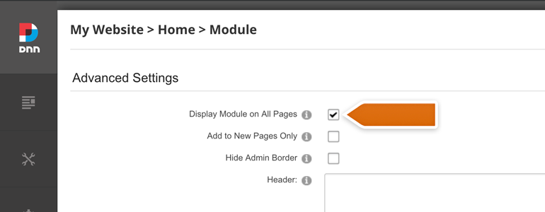 DotNetNuke Chat: enable the Display Module on All Pages option