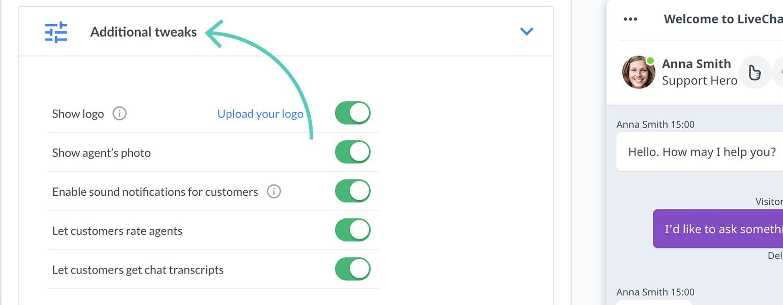 Chat widget configurator: Additional tweaks