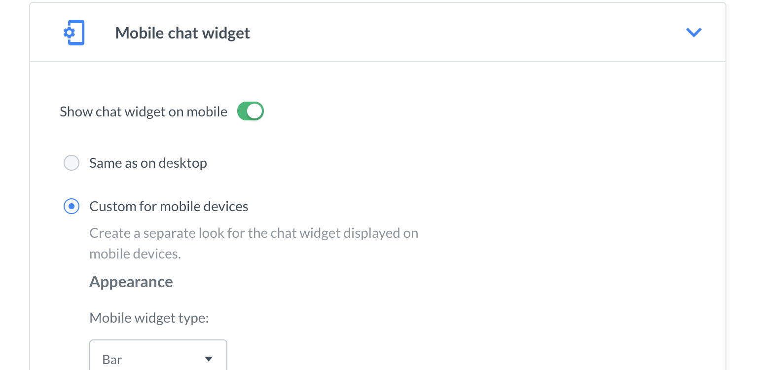Chat widget configurator mobile