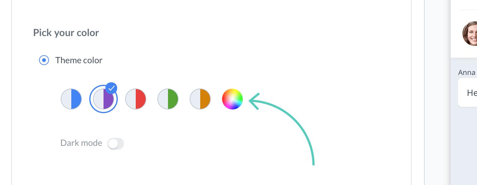 Chat widget configurator: pick your theme color