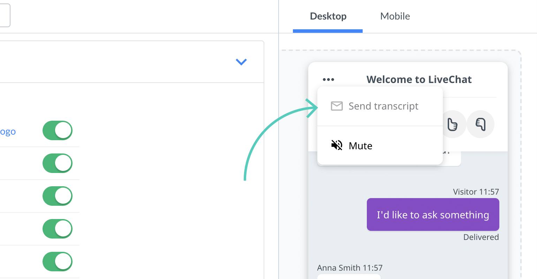 Chat widget configurator: Send transcript