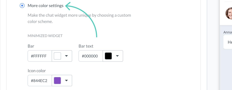 Chat widget configurator: Set custom colors