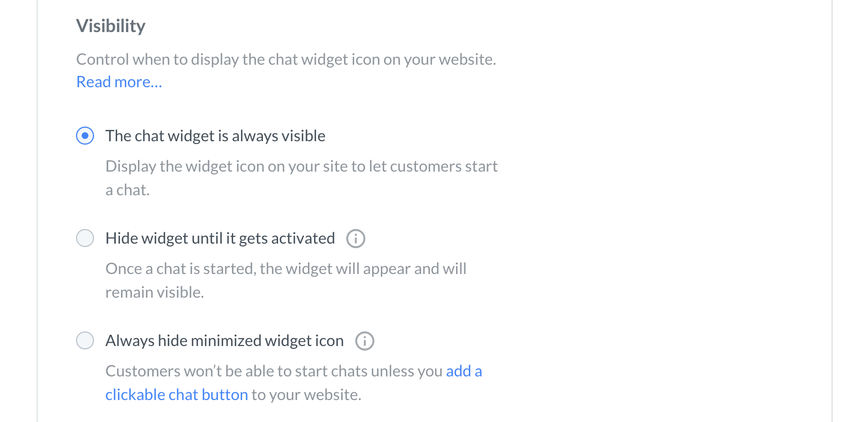 Chat widget configurator visibility