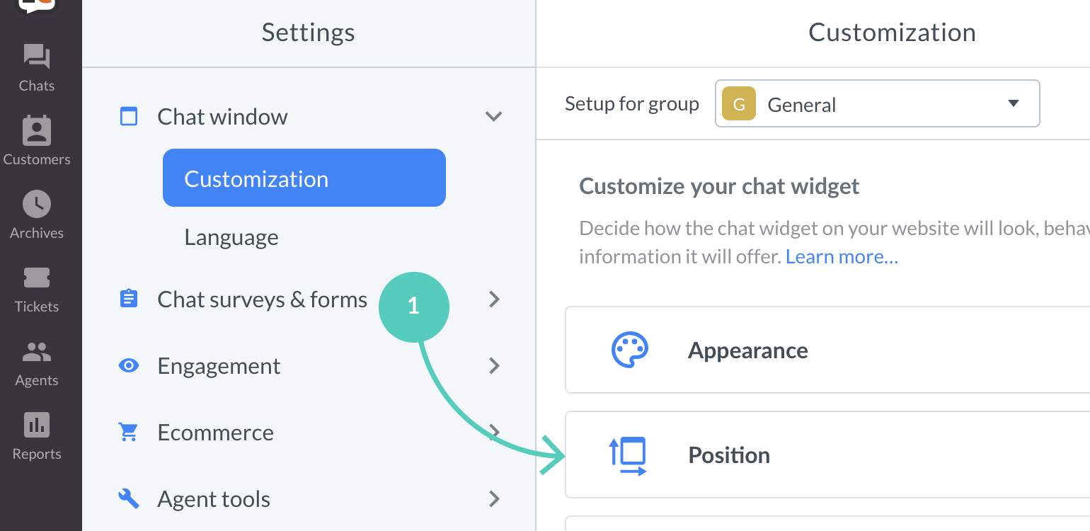 Chat widget visibility: Go to position to edit widget icon visibility