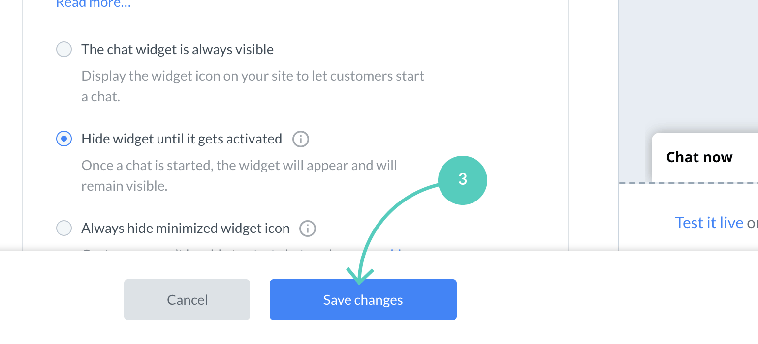 Chat widget visibility save changes