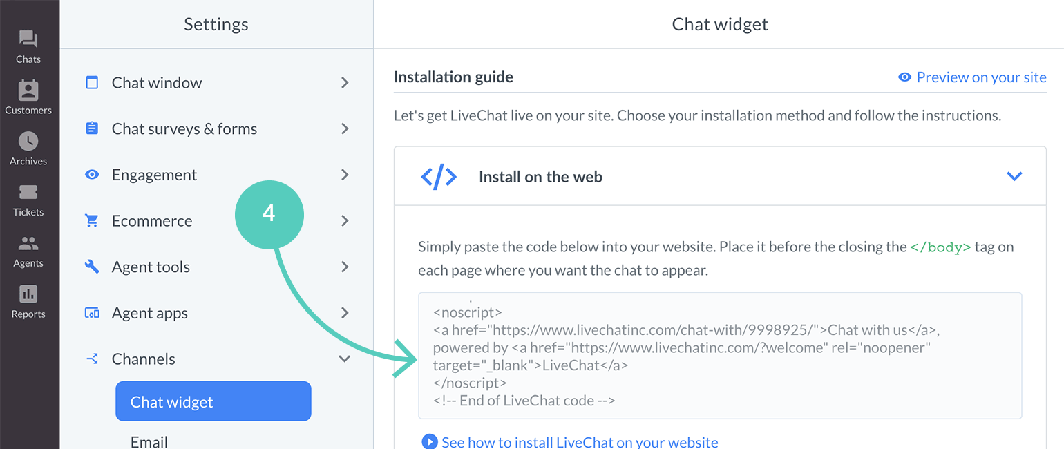 Ucraft integration with LiveChat: Copy LiveChat installation code