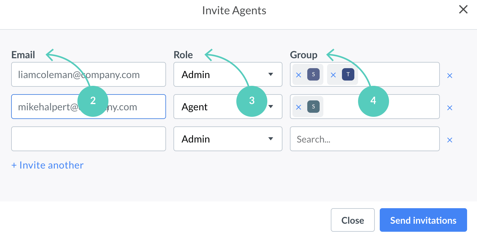 Fill in agents data to invite them