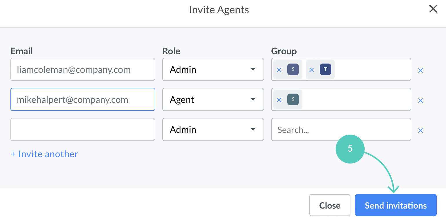 Send invitations to LiveChat