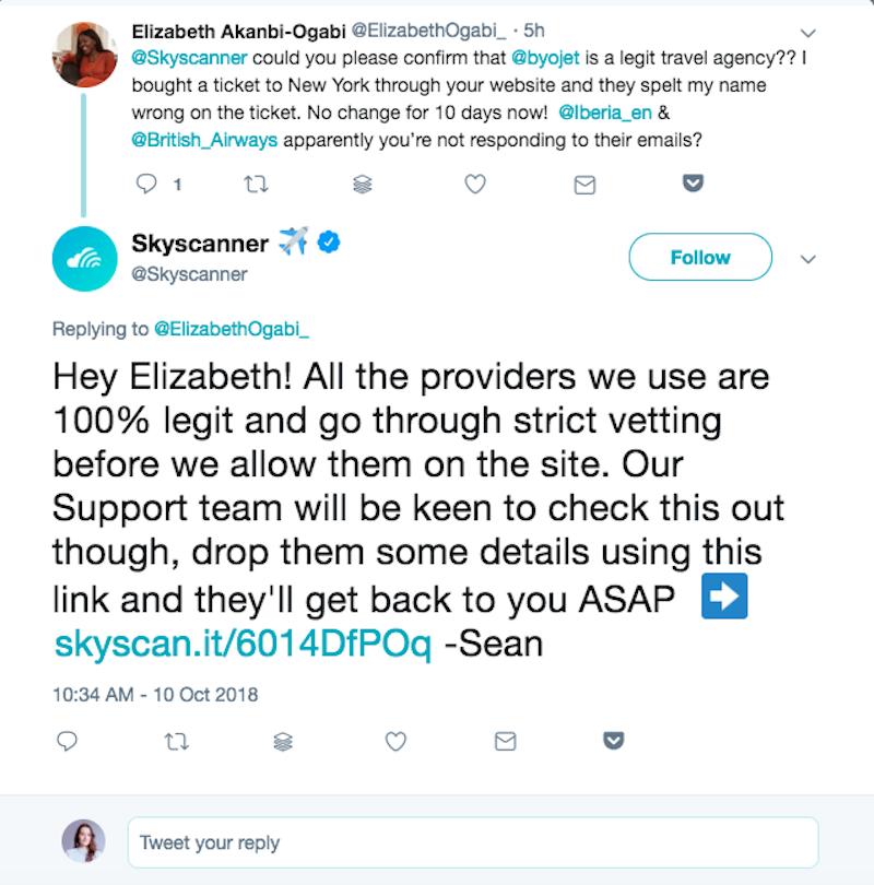Skyscanner twitter