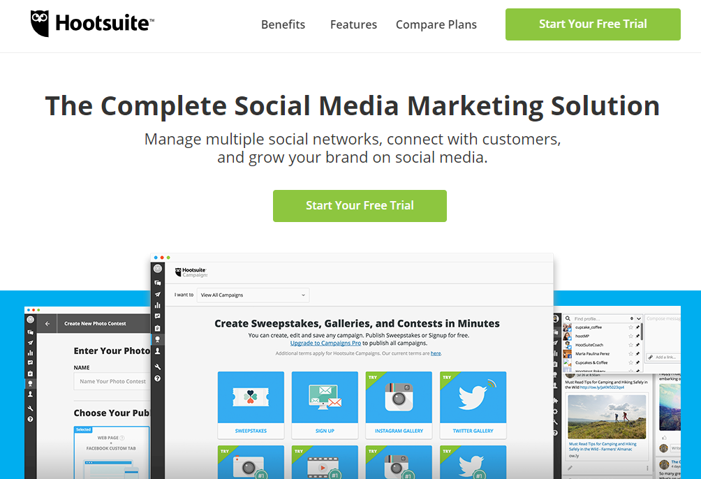 hootsuite landing page product preview