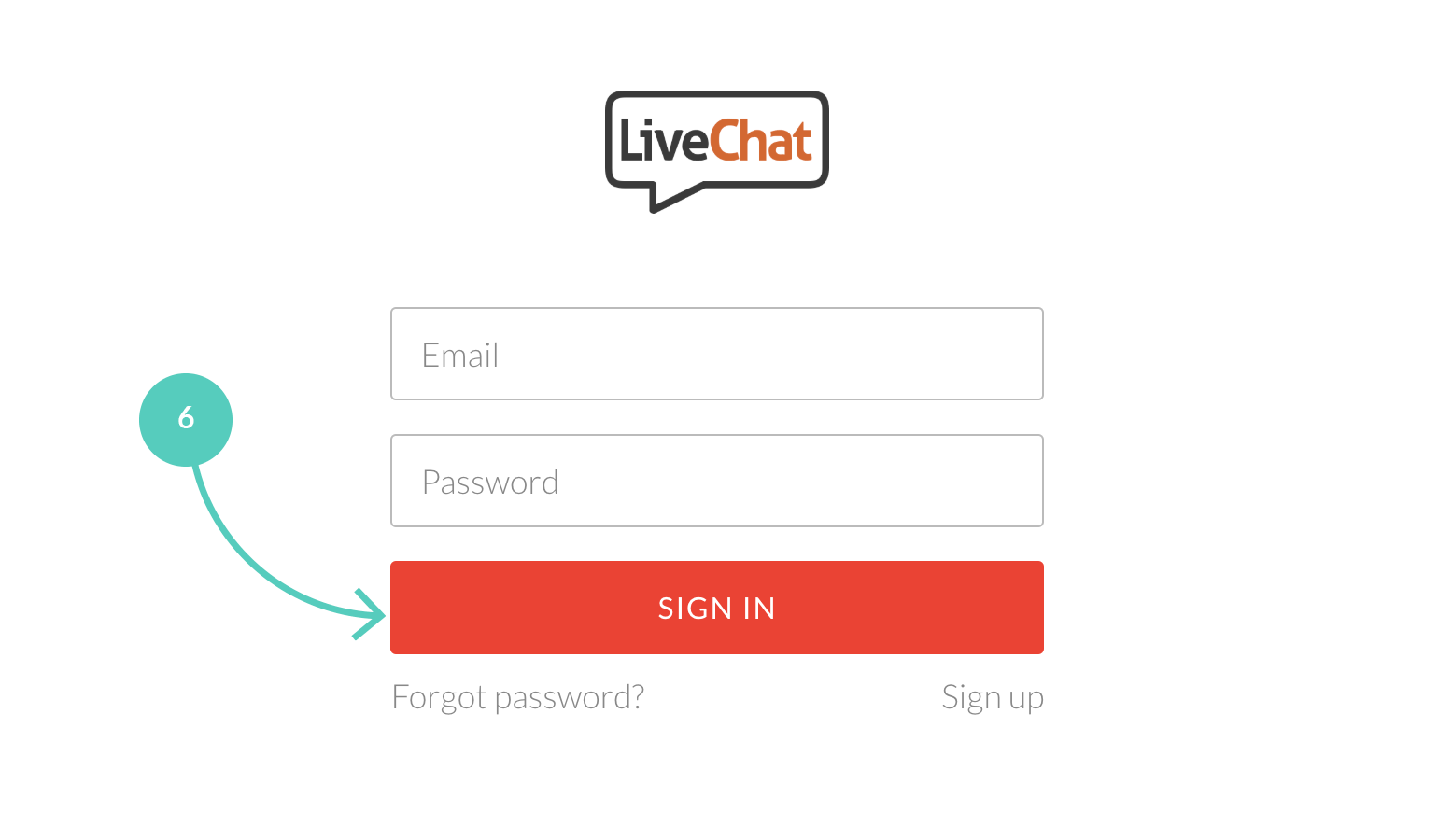 Shopify with LiveChat: Sign to your LiveChat account