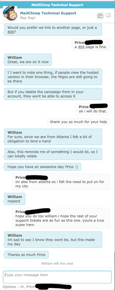 mailchimp technical support chat window