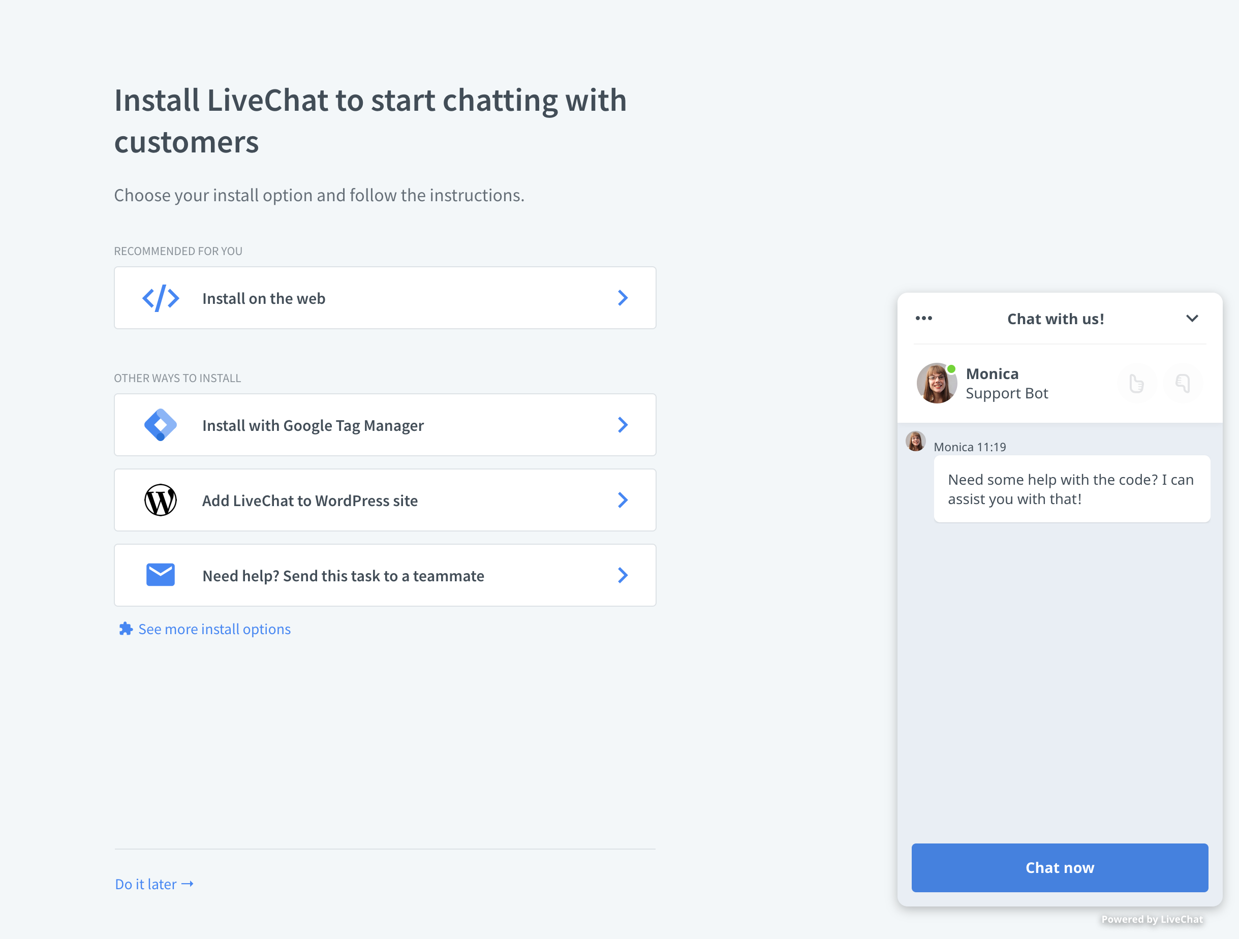 chatbot setup screen