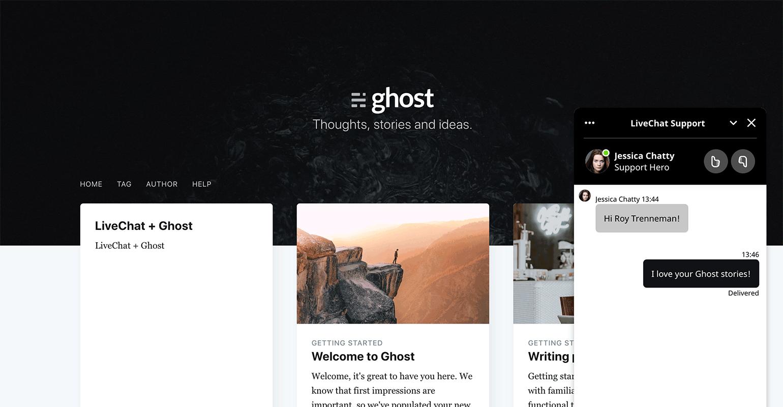 LiveChat widget on Ghost website