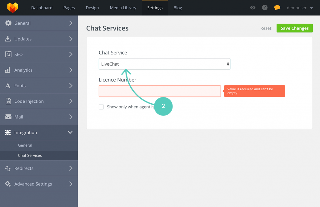 MotoCMS LiveChat: choose chat service